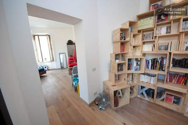 Book Shelves Storage Boxes in Rome Apartment