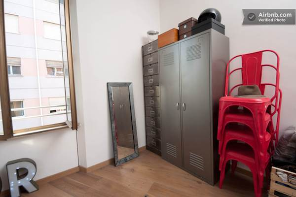 Locker Room Style Storage in Rome Loft Apartment